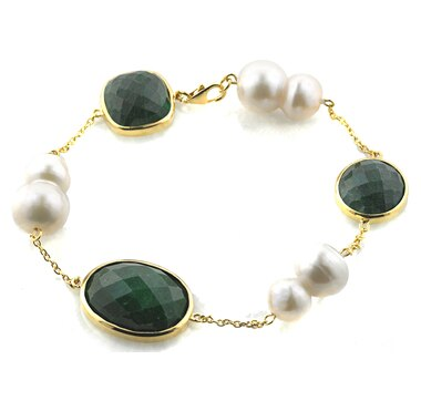 Sterling Silver Gold Plate Emerald & Pearl Bracelet