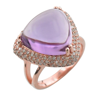 Sterling Silver Rose Plate Amethyst & Diamond Ring