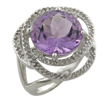 Sterling Silver Rhodium Plate Gemstone and Diamond Ring