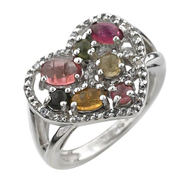 Sterling Silver Rhodium Plate Multi Tourmaline Ring