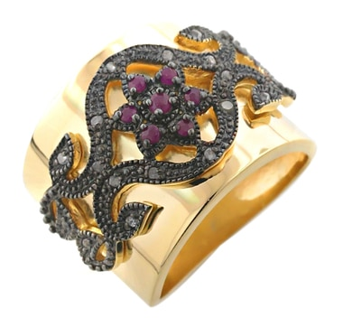 Sterling Silver Gold Plate Ruby and Diamond Ring