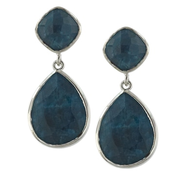 Sterling Silver Rhodium Plate Aquamarine Earrings
