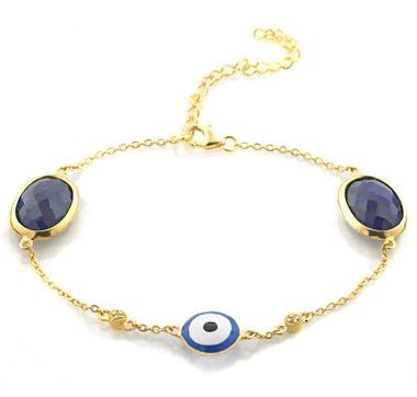 Sterling Silver Multi Gemstone Evil Eye Bracelet