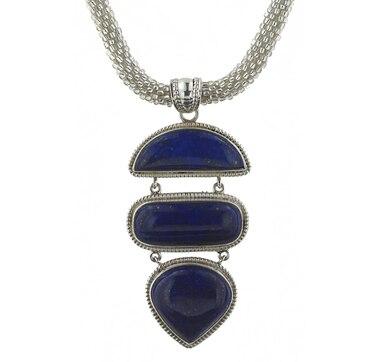 Collier en perles de rocailles et pendant en argent sterling orné de lapis Himalayan Gems