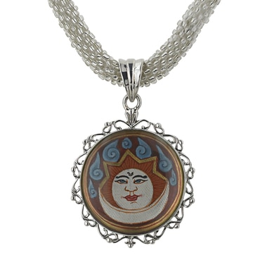 Himalayan Gems Sterling Silver Hand Painted Thanka Pendant & Chain