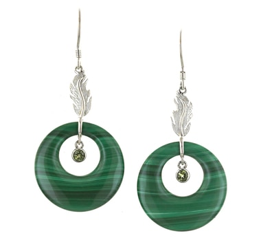 Sterling Silver Malachite Circle Design Earrings