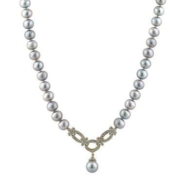 14K Gold Freshwater Pearl & Diamond Necklace