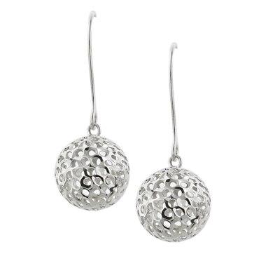 14K Gold Mesh Ball Dangle Earrings