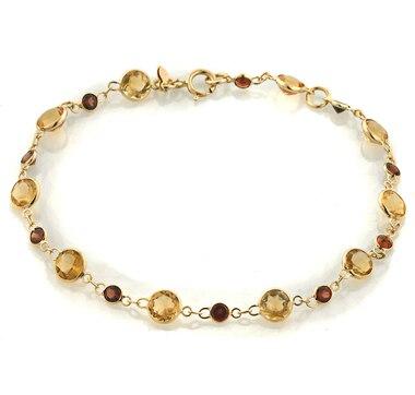 14K Gold Citrine & Garnet Bracelet