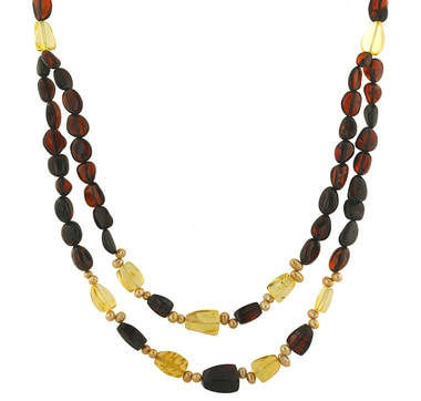 Stainless Steel Amber & Gemstone Necklace
