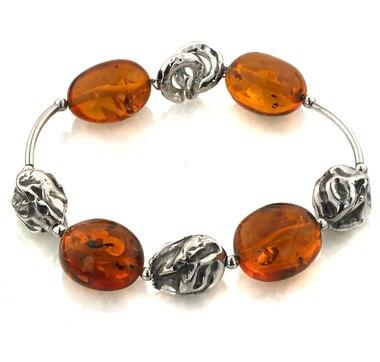 Sterling Silver Amber Station Bracelet