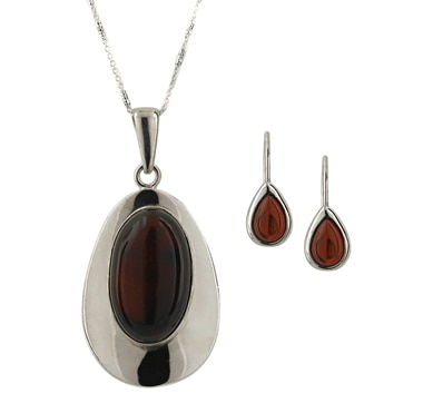 Sterling Silver Amber Pendant, Chain & Earrings
