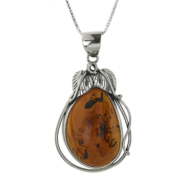 Sterling Silver Amber Leaf Design Pendant with Chain