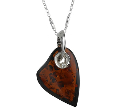 Sterling Silver Amber & Cubic Zirconia Heart Pendant with Chain