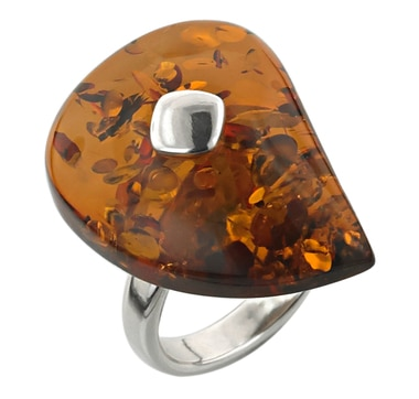 Sterling Silver Tear Drop Amber Ring