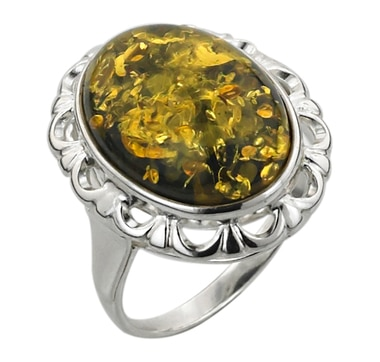 Sterling Silver Green Amber Vintage Style Ring