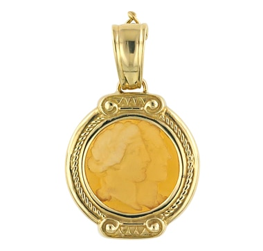 Vicenza Gold 18K Gold Amber Glass Cameo Intaglio Pendant