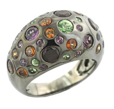 Sterling Silver Garnet Gypsey Set Ring