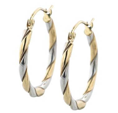Boucles d\'oreilles en or 10 ct deux tons à motif torsadé
