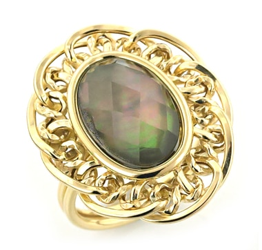 Stefano Oro 14K Gold Crystal Rock & Mother of Pearl Ring