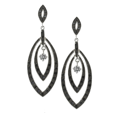 Sterling Silver Black Spinel Drop Earrings