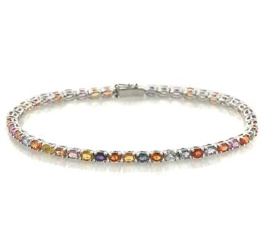 Sterling Silver Multi Sapphire Bracelet
