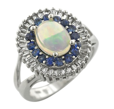 Sterling Silver Gemstone Ring with Sapphires