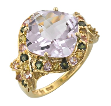 Sterling Silver & Gold Plate Pink Amethyst & Multi Colour Tourmaline Ring