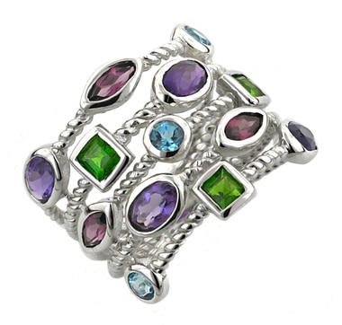 Sterling Silver Multi Gemstone Ring