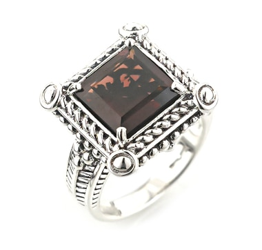 Hilary Joy Sterling Silver & Rhodium Plate Square Cut Garnet Ring