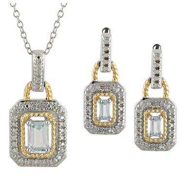 Sterling Silver, Rhodium & Gold Plate Sky Blue Topaz Pendant, Chain & Earrings