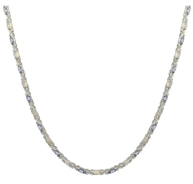 """Sterling Silver Tanzanite & Gemstone 10.00ctw 18"""" Necklace"""