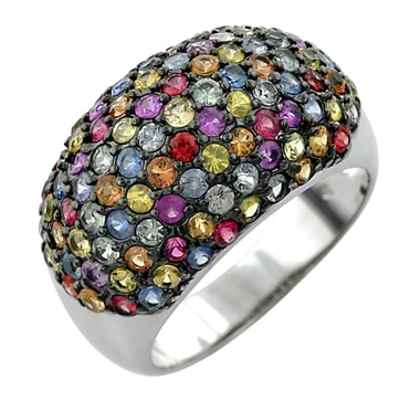 Carnival of Gems Sterling Silver Multi Sapphire Dome Ring