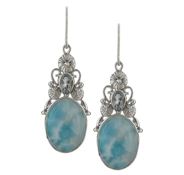 Himalayan Gems Sterling Silver Larimar & Blue Topaz Earrings