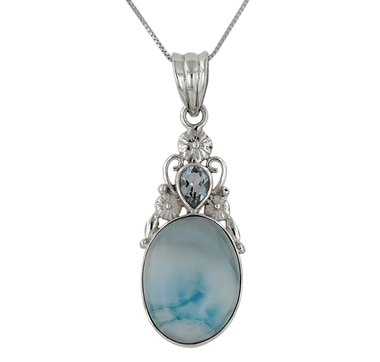 Himalayan Gems Sterling Silver Larimar & Blue Topaz Pendant with Chain