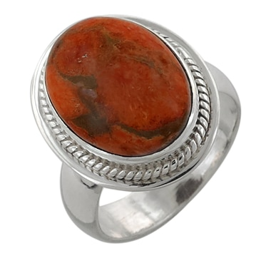 Himalayan Gems Sterling Silver Sponge Coral Ring