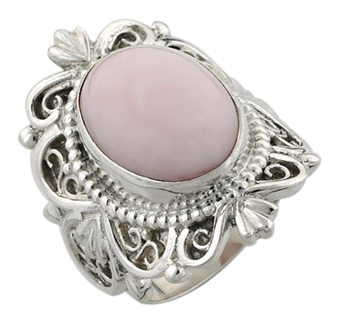 Himalayan Gems Sterling Silver Pink Opal Ring