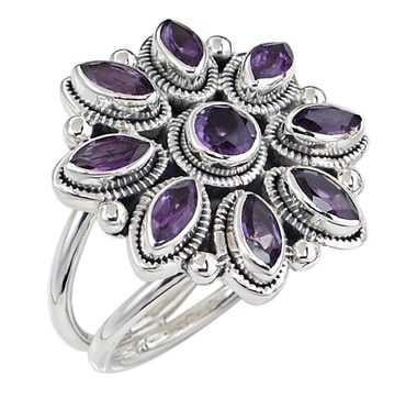 Himalayan Gems Sterling Silver Starburst Ring