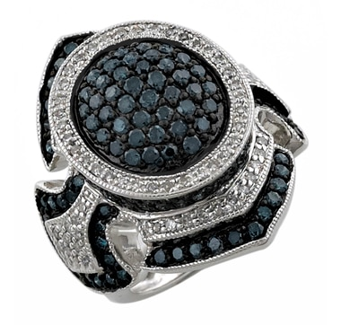 Rarities Fine Jewellery with Carol Brodie Sterling Silver & Rhodium Plate Blue & White Diamond Ring