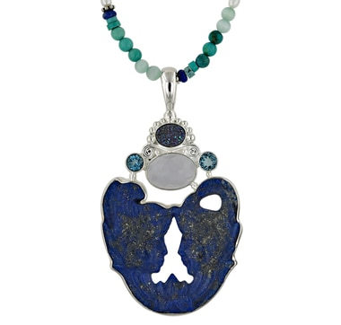Sterling Silver Multi Gemstone Pendant with Beaded Necklace