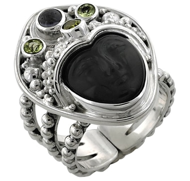Sterling Silver Multi Gemstone Goddess Ring