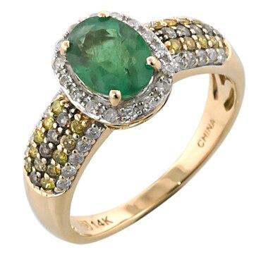 14K Gold Zambian Emerald & Diamond Ring