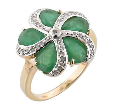 10K Gold Zambian Emerald & Diamond Flower Ring
