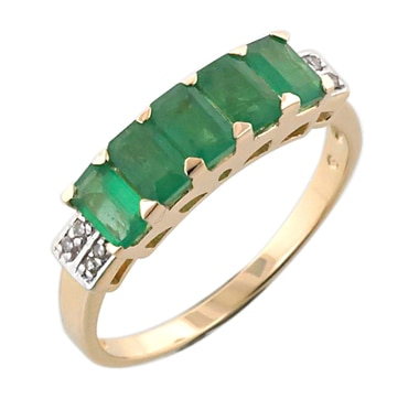 10K Gold Zambian Emerald & Diamond Ring