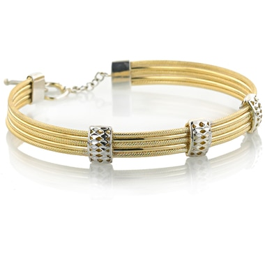 Sterling Silver & 14K Gold Multi Row Soft Bangle