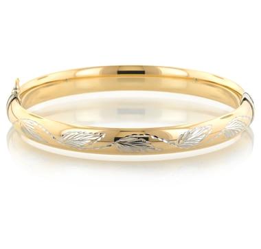 Sterling Silver & 14K Gold Diamond Cut Leaf Bangle