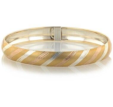 Sterling Silver & 14K Gold Tri Colour Candy Stripe Oval Bangle
