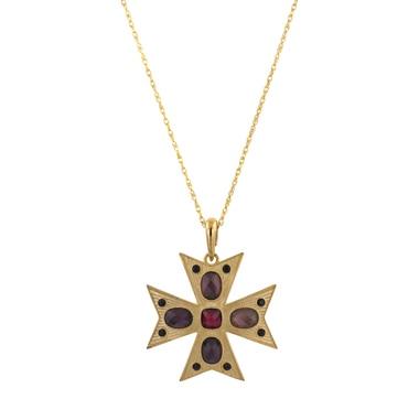 Croix en argent sterling avec placage or 18 ct ornée de gemmes de synthèse, avec chaîne