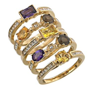 Sterling Silver & 18K Gold Plate Created Gemstone Stackable Rings