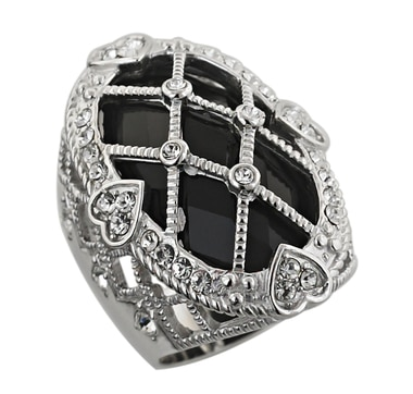 Sterling Silver & Rhodium Plate Black Onyx Ring